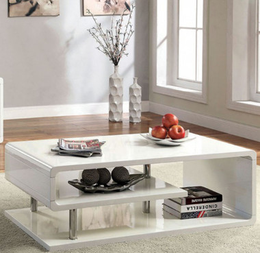 Ninove CM4057 Curled Shelving Cocktail Table in White