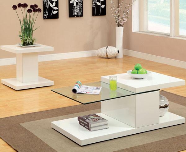 Calero Contemporary Glass White Coffee Table