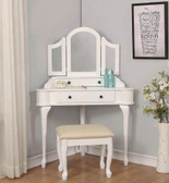 Sophia White Corner Makeup Vanity with Stool and Mirror