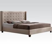Beige Microfiber Modern Queen Bed