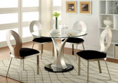 """45"""" Sophie Round Satin Glass Dining Table Set"""