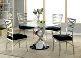 "48"" Roxo Round Glass Satin Plated Dining Set"
