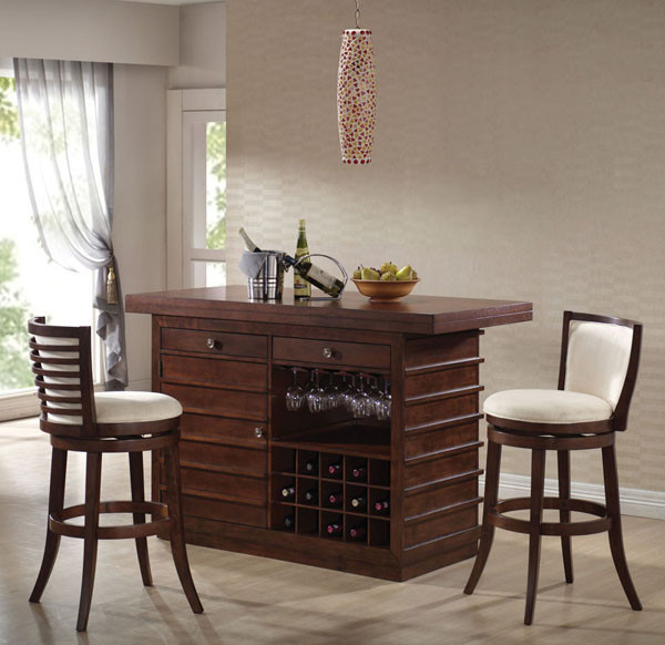 Home Bar Counter: Asden Cherry Home Bar Counter With Wine Rack