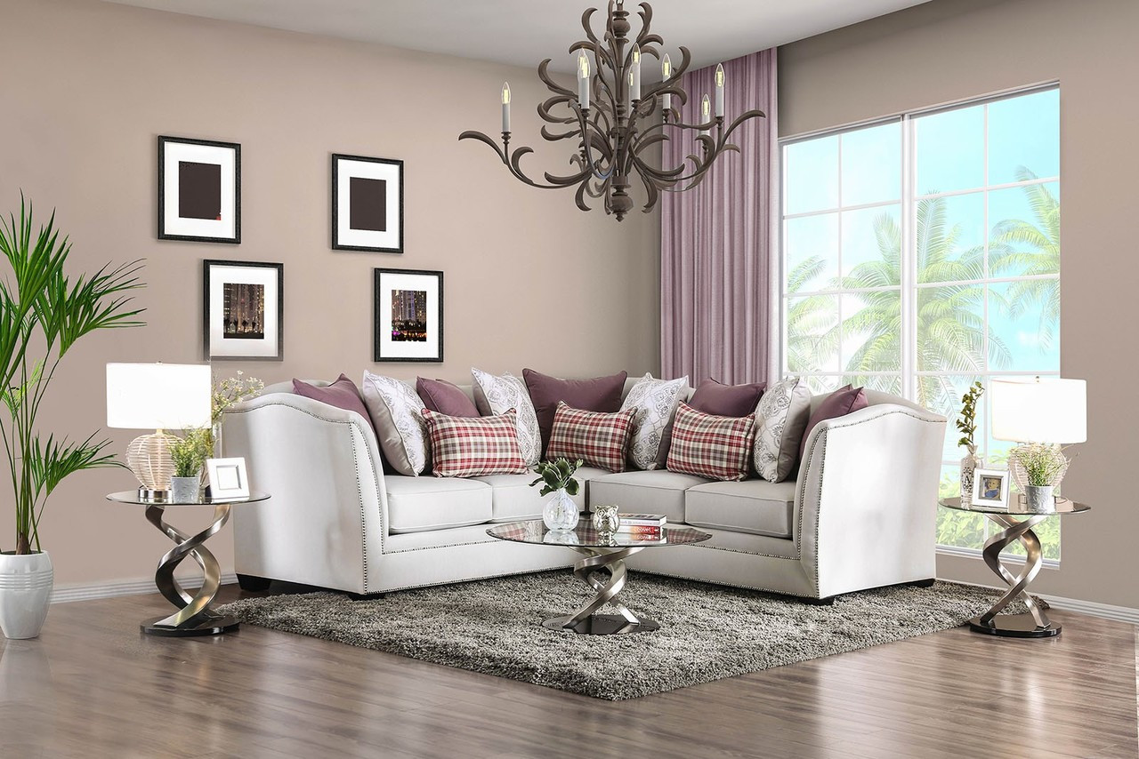 L Shaped Sectional Sofa with Loose Back Pillows