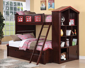 Espresso Twin Full Bunk Bed w/ Trundle