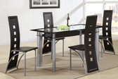 Black Glass Metal Table Set
