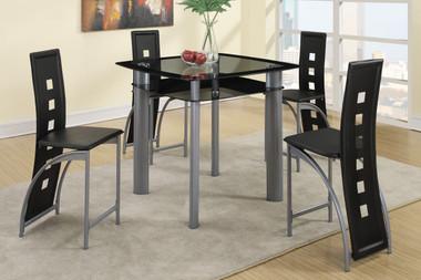 Black Glass Counter Dinette Set