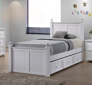 """Dillon 3"""" Post Bead Board Twin Size Frame with Under Bed Trundle"""