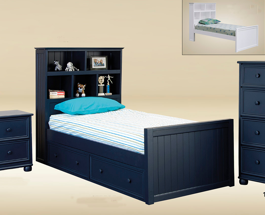 navy blue twin size captains bed