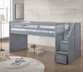 Dexter Twin Junior Loft with Step Drawers in Gray