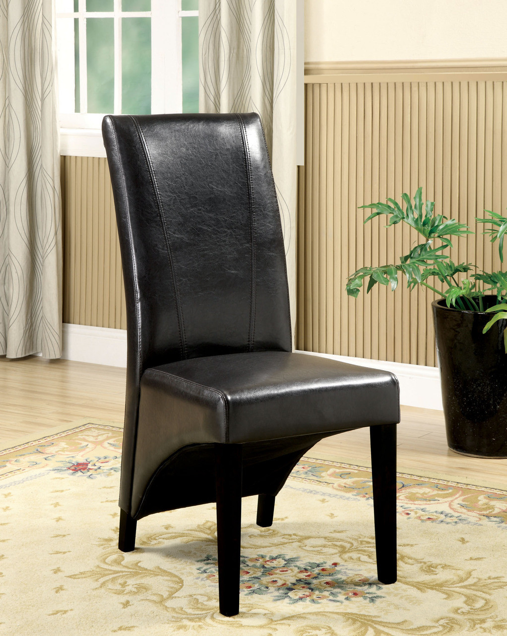 Black Leatherette Parson Chairs ...