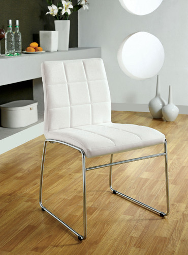 White Leatherette Chrome Chairs
