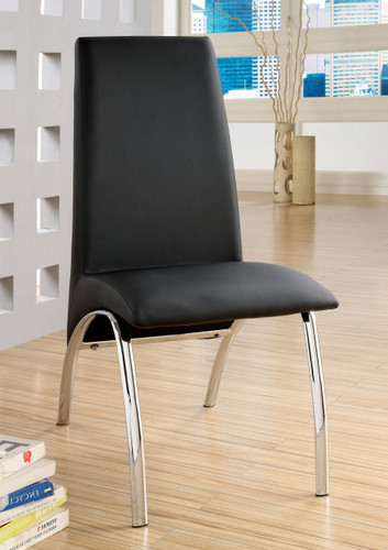 Black Leatherette Chrome Dining Chairs