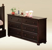 Dillon Cottage Bead Board 6-Drawer Dresser in walnut with reddish undertone