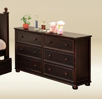 Dillon Cottage Bead Board 6-Drawer Dresser in walnut with reddish undertone