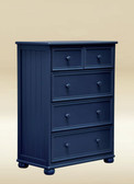 Dillon 5-Drawer Split Top Drawer Chest in Navy Blue