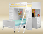 Gavin Twin Loft Bed with Desk and Chest in White Finish