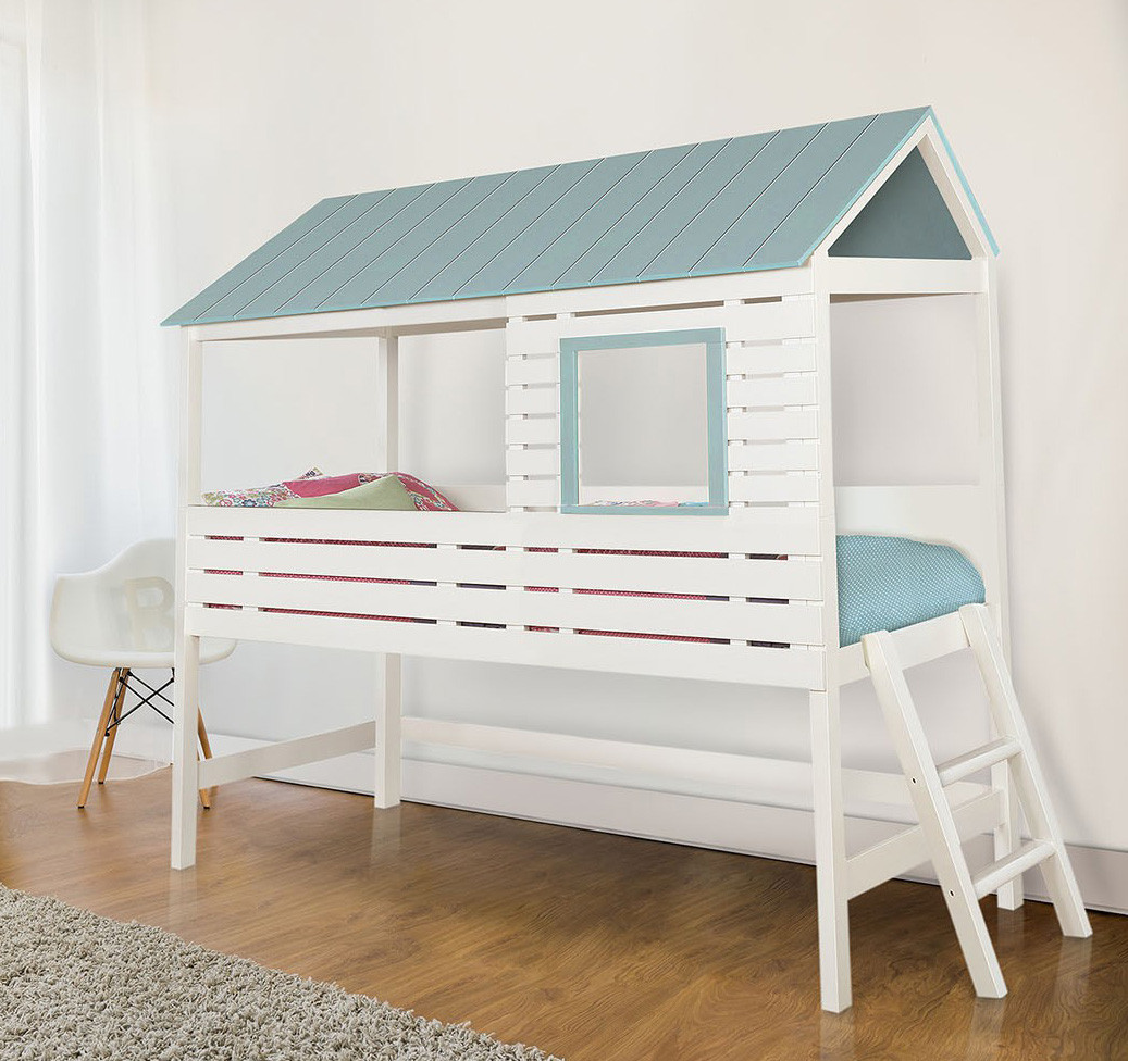 Furniture Of America CM7135 White House Bed | OMESTAD White Lofted House  Bed ...