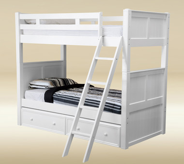 White Wood Twin Over Twin Bunk Bed | Timeless Twin Size Bunk Bed
