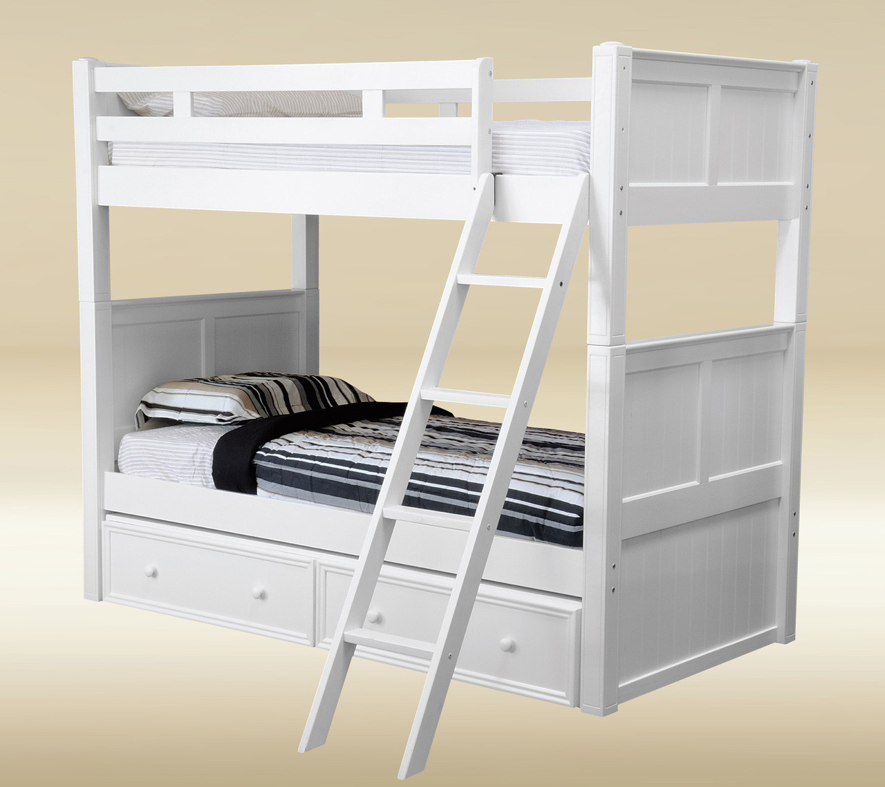 Picture of: Dillon White Twin Over Twin Bunk Bed La Orange County