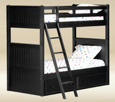 Black Wood Twin Over Twin Bunk Bed | Cottage Bunk Bed
