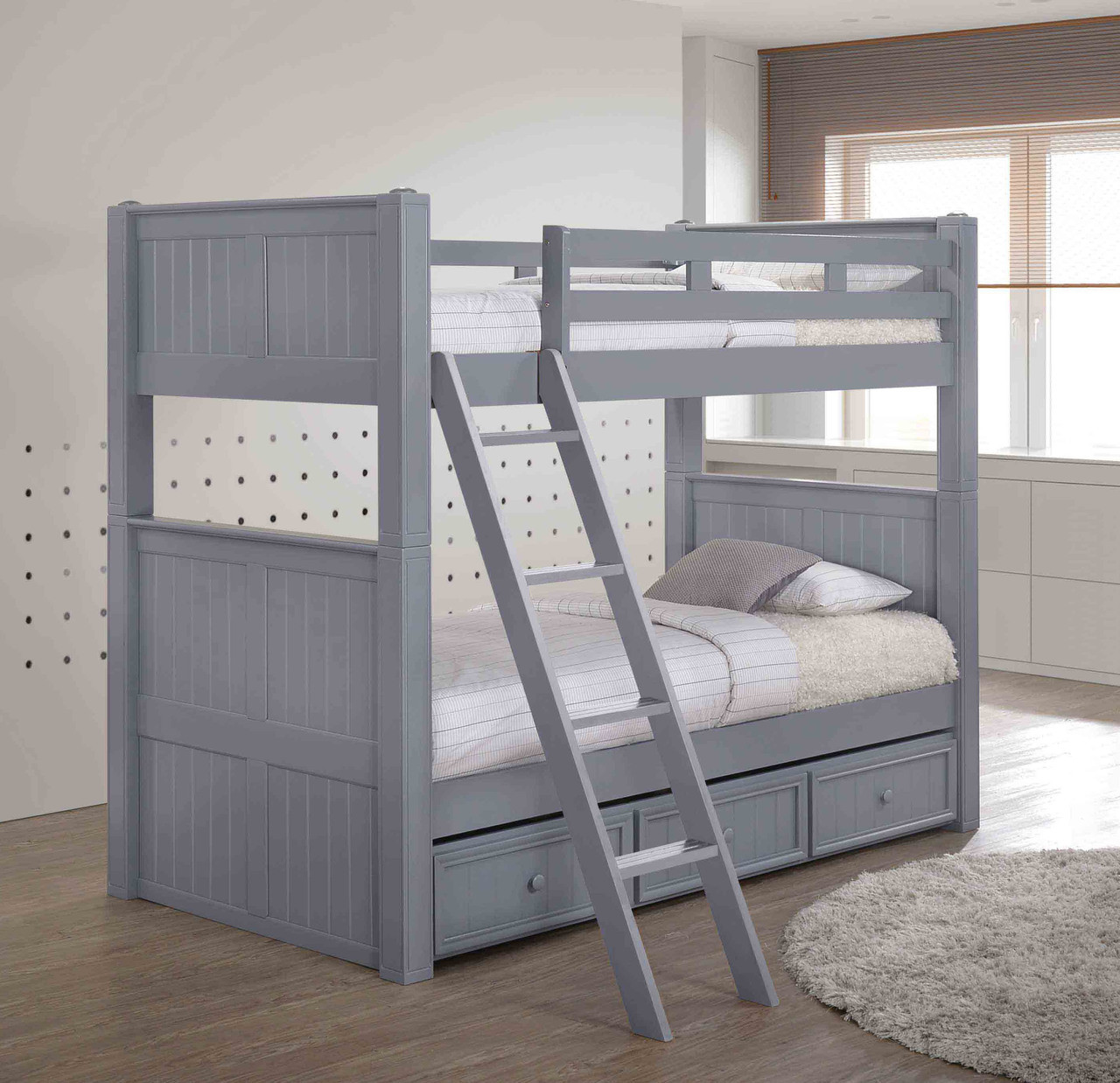 Picture of: Dillon Twin Xl Over Twin Xl Bunk Bed With Trundle Or Storage