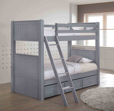 Twin XL over Twin XL Bunk Bed in Gray with Slanted Ladder