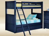 Navy Blue Wood Twin Over Twin Bunk Bed
