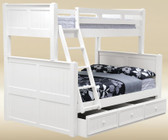 Dillon White Twin over Full Bunk Bed shown with Optional Trundle