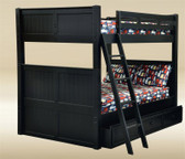 Black Wood Full Bunk Bed Orange County | Shown with Optional Trundle