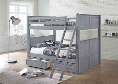 Gray Wood Full Bunk Bed in Orange County | Shown with Optional Trundle
