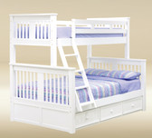 Mission White Twin Over Full Bunk Bed shown with Optional Trundle