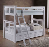 Twin XL Wood Bunk Bed with Optional Trundle and Slanted Ladder