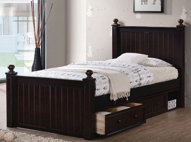 Dillon Extra Long Wood Bead Board Bed | XL Twin Size Frame with Storage Drawers