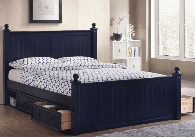 Dillon Navy Blue Bead Board Queen Size Bed | Shown With Optional 2 Sets Of  Under ...