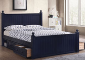 Dillon Navy Blue Bead Board Queen Size Bed | Shown with Optional 2 Sets of Under Bed Drawers ( Not Included )