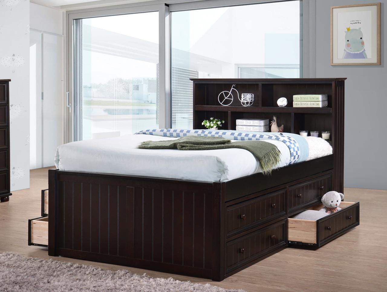 dillon wood bead board full size captains bed orange county. Black Bedroom Furniture Sets. Home Design Ideas