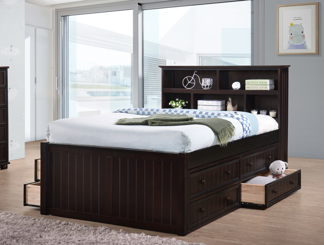 Dillon Wood Bead Board Full Size Captains Bed | Versatile Storage Bed with Book Case ... & Dillon Wood Bead Board Full Size Captains Bed | Orange County
