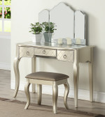 Poundex Alicia Makeup Table with Drawers and Tri-fold Mirror in Silver