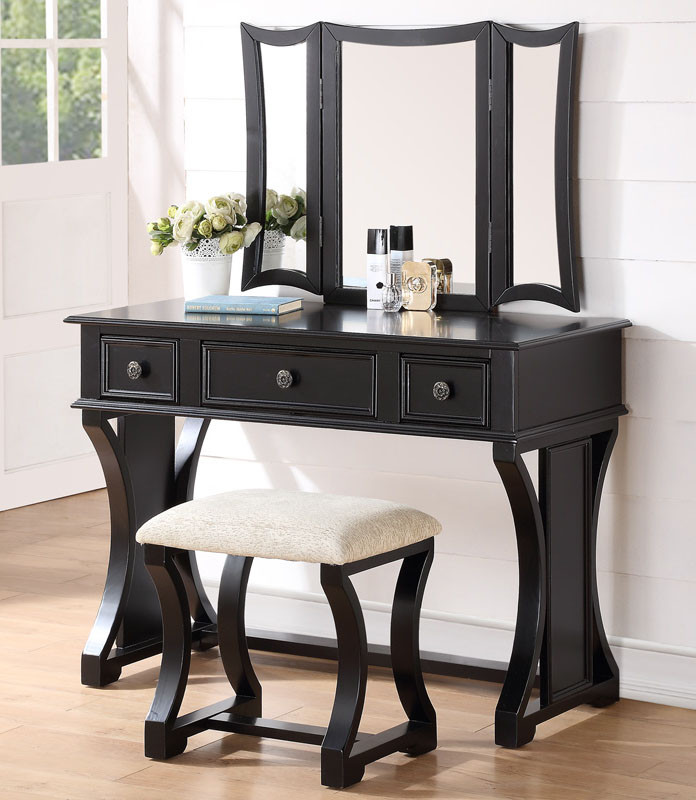 black vanity desk with mirror. Dulce White Vanity Desk With Mirror  Poundex F4116 Black Wood Bench