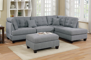 3-PCS Sectional with Reversible Chaise and Ottoman in Gray