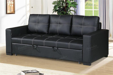 Pacific City Convertible Sofa w/ Pull-out Bed in Black Faux-leather