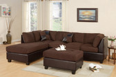 Reversible 3-PCS Chocolate Microfiber Sectional Set + ottoman