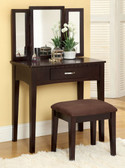 Ria Makeup Desk with Mirror & Bench in Espresso Finish