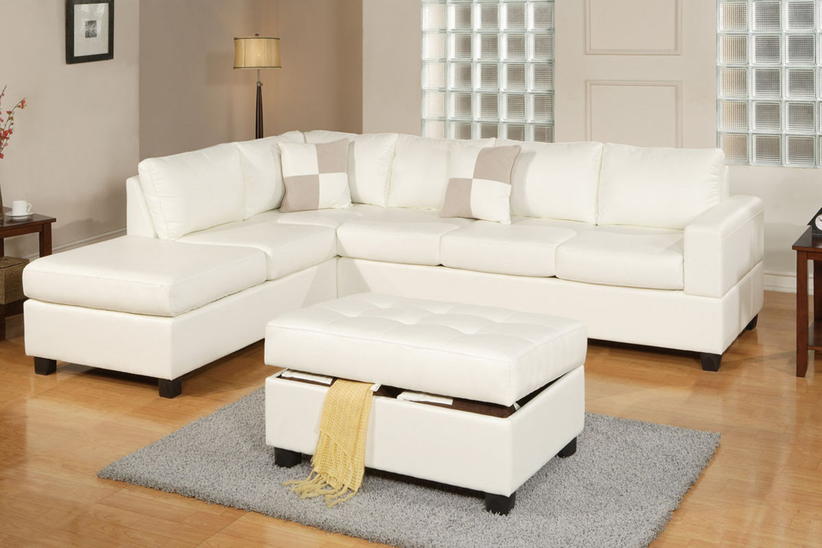 Cream Bonded Leather 3 PCS Sectional Sofa Set + Ottoman ...