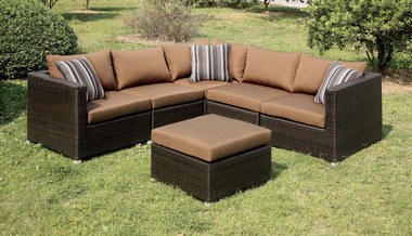 Outdoor Espresso Sectional Sofa Set-Patio Furniture