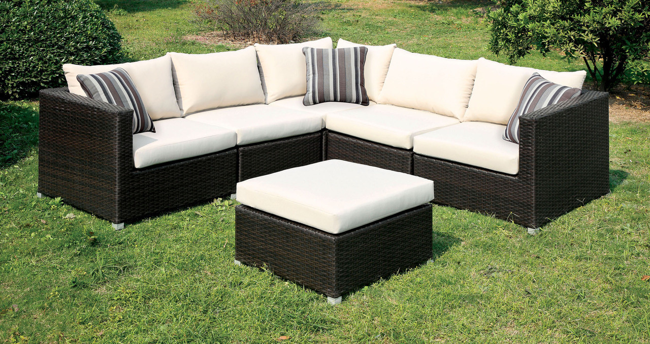 ... Espresso Ivory Sectional Sofa Set Patio Furniture