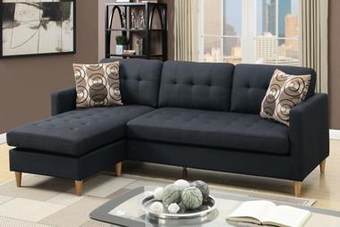 Poundex F7084 Linen-Like Reversible L Shape Sectional in Black
