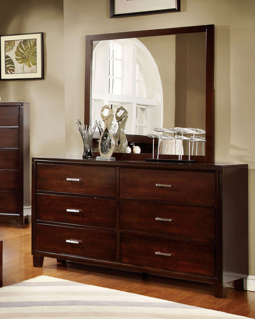 Picture of: Furniture Of America 7068d Brown Cherry 6 Drawer Dresser