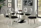 """60"""" Glass Top Satin Plated Dining Table Set CM3726T 